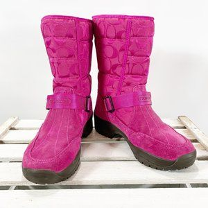 Coach Sandi Women's Pink Quilted LOGO Winter Boots